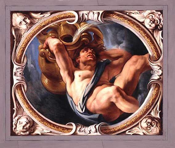 """""""Wodnik"""" flamandzkiego malarza barokowego Jacoba Jordaensa z cyklu Znaki zodiaku. Wyznawcy New Age oczekiwali na astrologiczną Erę Wodnika, która przyniesie szczęście i harmonie na Ziemi."""