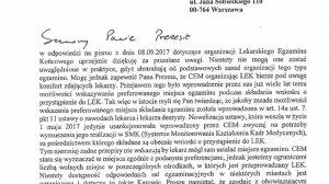 Pismo prof. Mariusza Klenckiego do dr Macieja Hamankiewicza ws. LEK i LDEK.