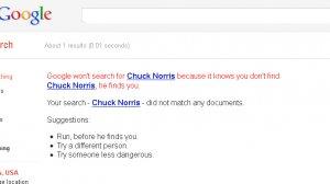 Niestety Google nie pomoże znaleźć Chucka Norrisa.