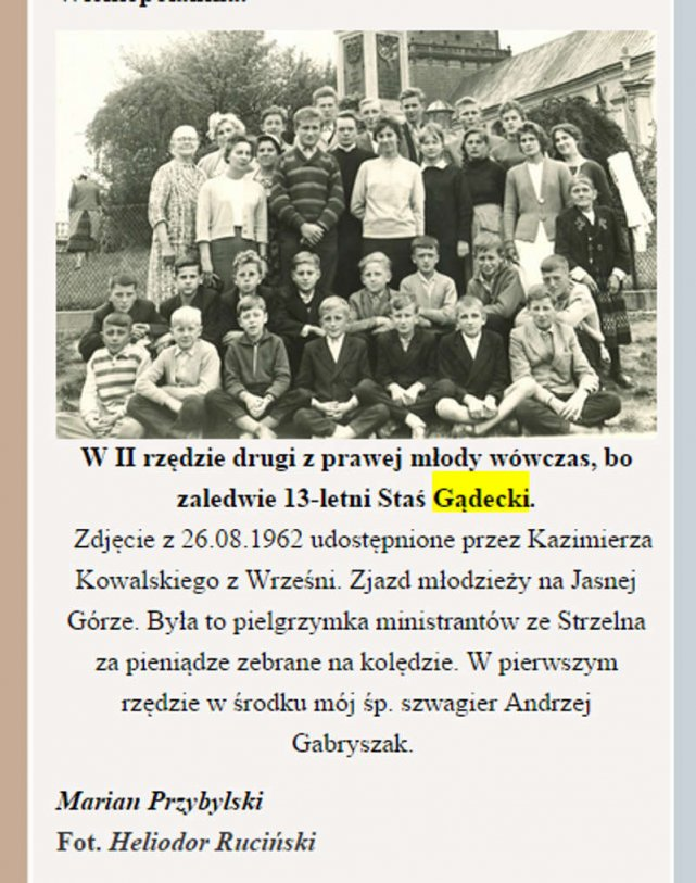Na swoim blogu kolega arcybiskupa Mariusz Przybylski opublikował jego zdjęcie ze szkoły. Biskup pierwszy od prawej w drugim rzędzie.