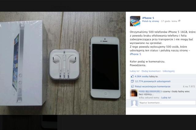 """Na """"konkurs"""" z darmowym iPhonem 5 nabrało się tysiące użytkowników Facebooka."""
