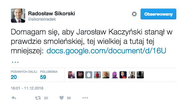 Radosław Sikorski poinformował o sprawie na Twitterze.