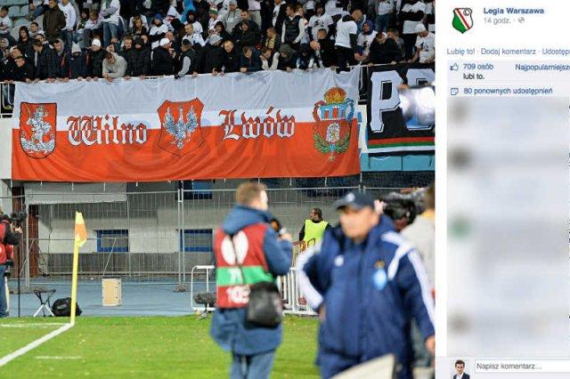 Kibice Legii Warszawa podczas meczu w Kijowie wywiesili transparent z odwołaniem do polskiego Lwowa i Wilna