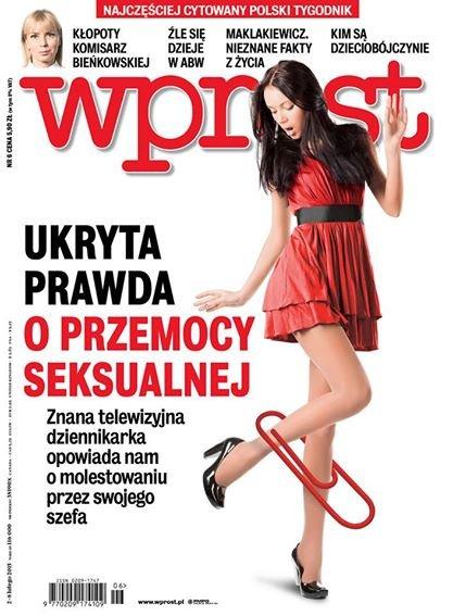 """Okładka numeru tygodnika """"Wprost"""", w którym ukazał się artykuł o molestowaniu dziennikarki"""