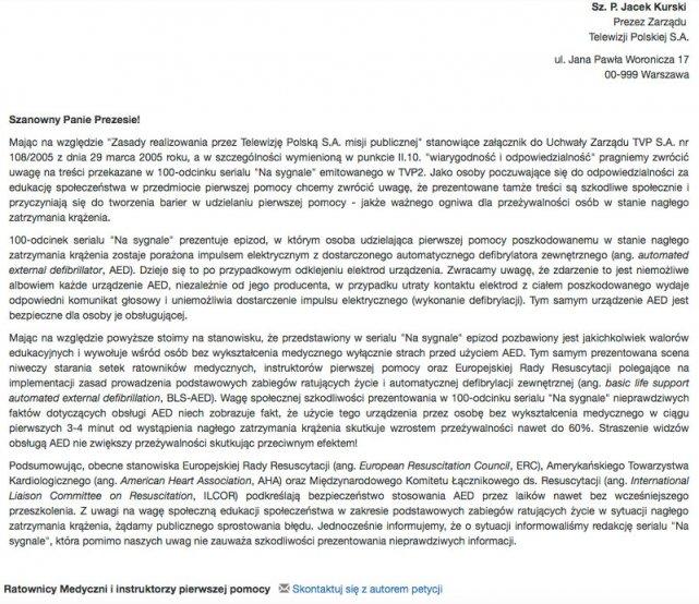 Petycja ratowników medycznych do prezesa Kurskiego.