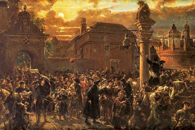 """Fragment obrazu Jana Matejki """"Wyjście żaków z Krakowa w roku 1549"""""""