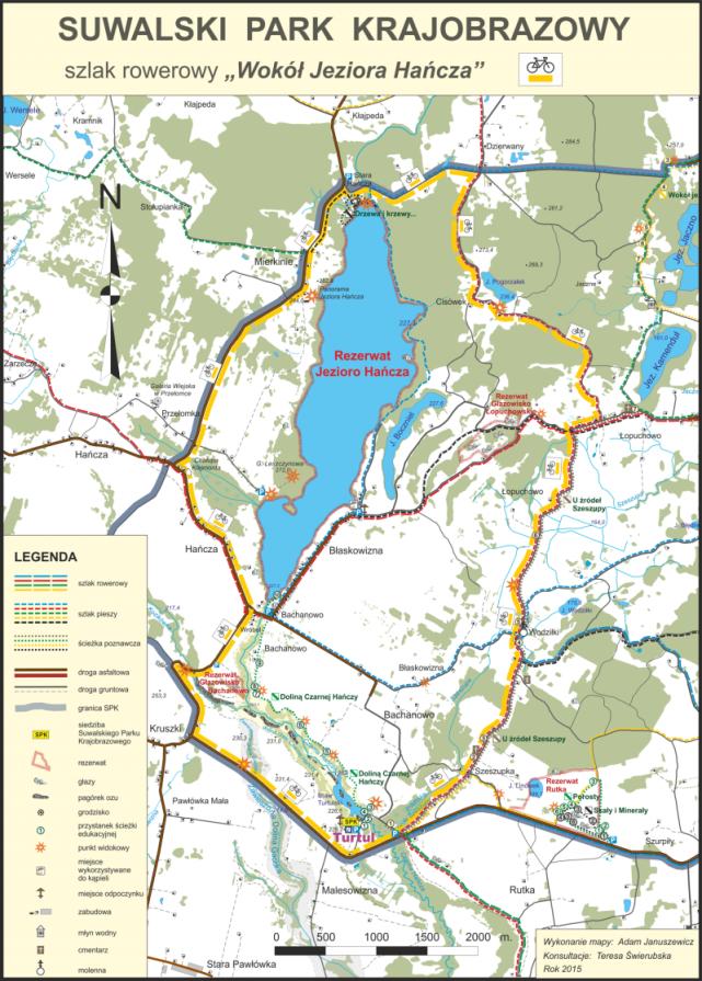 Dookoła Jeziora Hańcza to jedna z czterech tras rowerowych wyznaczonych na obszarze Suwalskiego Parku Krajobrazowego.