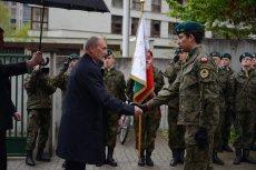 Minister obrony narodowej Antoni Macierewicz podczas uroczystości podpisania koncepcji tworzenia obrony narodowej.