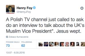 Henry Foy odrzucił zaproszenie polskiej telewizji, która nie wiedziała, co ma skomentować.
