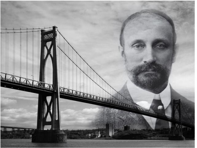 Ralph Modjeski i jeden z jego słynnych mostów.