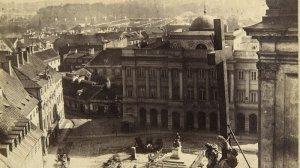 Widok z wieży kościoła św. Krzyża w kierunku pałacu Staszica, ówczesnej siedziby Akademii Medyko-Chirurgicznej, 1861