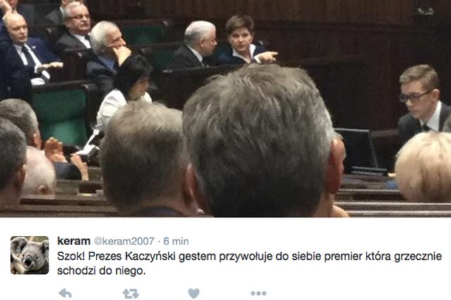 Premier Szydło konsultowała sięw Sejmie z prezesem Kaczyńskim