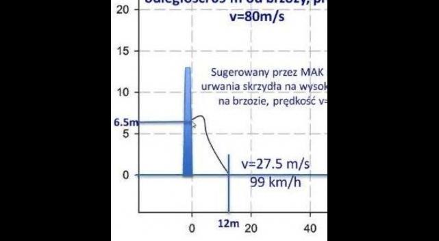 Niemożliwe fizycznie wyniki wykonanych rzekomo symulacji lotu urwanego fragmentu skrzydła PLF 101 (spadek 12 m za drzewem, przy prędkości początkowej 80 m/s).