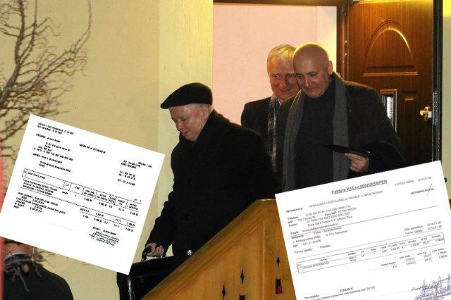 Pensjonat Zielona Owieczka. Od lewej: prezes PIS Jaroslaw Kaczynski , Piotr Naimski i Joachim Brudzinski wychodza z prywatnego spotkania z prezesem partii Fidesz Viktorem Orbanem