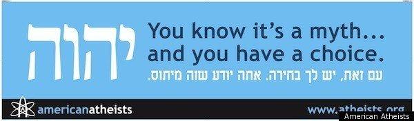 """""""Wiesz, że to mit... i masz wybór"""" Plakat organizacji American Atheists skierowany do żydowskich ateistów, po angielsku i hebrajsku"""