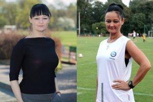 """Po lewej: Sylwia Stachowicz, kwiecień 2014 - zanim postanowiła """"zmienić coś w swoim życiu"""". Po prawej: Sylwia Stachowicz, wrzesień 2015 - rasowa biegaczka i motywtorka"""