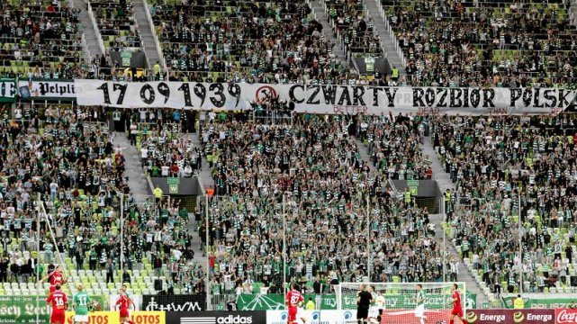 Kontrowersyjny transparent ze stadionu Lechii