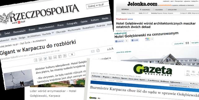 Nagłówki portali opisujących historię Hotelu Gołębiewski w Karpaczu
