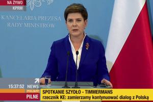 Premier Beata Szydło spotkała sięz wiceszefem KE Frans Timmermans