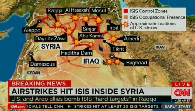 Mapa nalotów w Syrii i Iraku