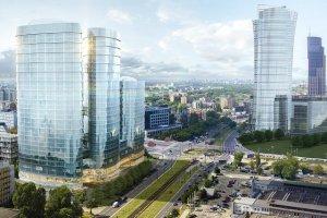 Po prawej nowa, 220 metrowa wieża Warsaw Spire Ghelamco, a obok planowana nowy budynek. Ta wizualizacja jest już mocno nieaktualna, bo cały prawy dolny róg zdjęcia także zabudują biurowce.