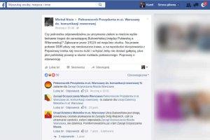 Warszawscy urzędnicy na Facebooku przerzucali się odpowiedzialnością za rozwiązanie problemu zgłoszonego przez mieszkańca.