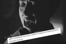 """""""Nie godzi się udostępniać pomieszczeń aborterce"""". Grupa mieszkańców Nadarzyna żąda odwołania koncertu Natalii Przybysz"""