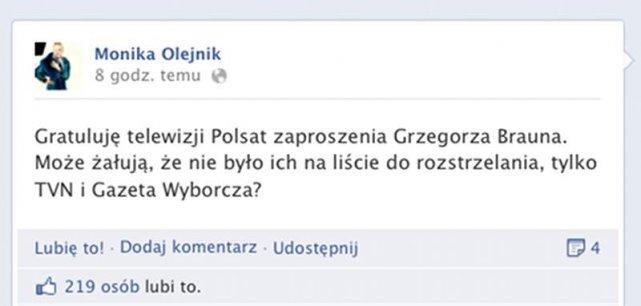 Wpis Moniki Olejnik dotyczący pojawienia się Grzegorza Brauna na antenie Polsat News