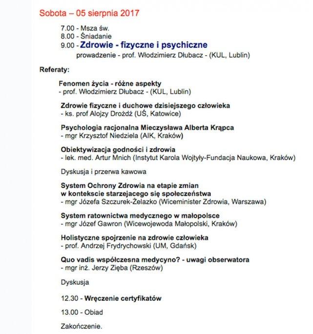 Program VII Międzynarodowego Interdyscyplinarnego Seminarium Naukowego Idee - Człowiek - Filozofia . Część poświęcona tematyce zdrowotnej.