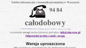 Strona warszawskiej komunikacji miejskiej w 1999 roku. Niestety nasza przeglądarka nie obsługuje okienek