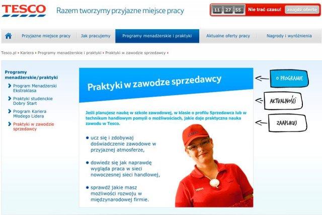 Tesco oferuje bezpłatne praktyki w zawodzie sprzedawcy