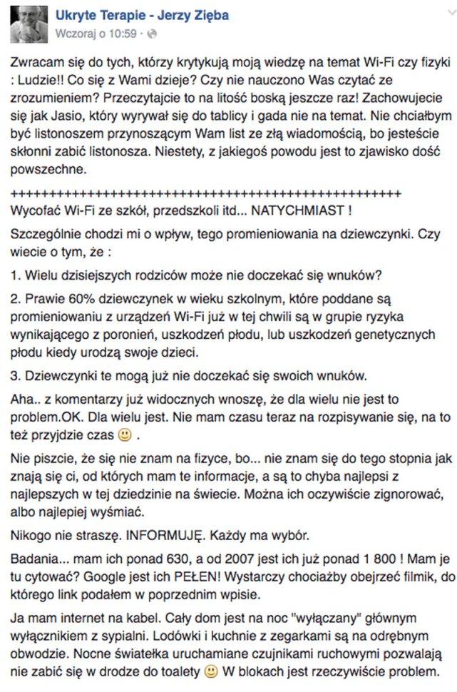 Jerzy Zięba przestrzega...