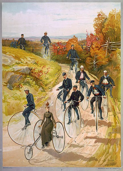 """""""Kolarstwo"""", print z 1887r prezentujący społecznie akceptowalną pozycję i strój rowerowy dla kobiety."""