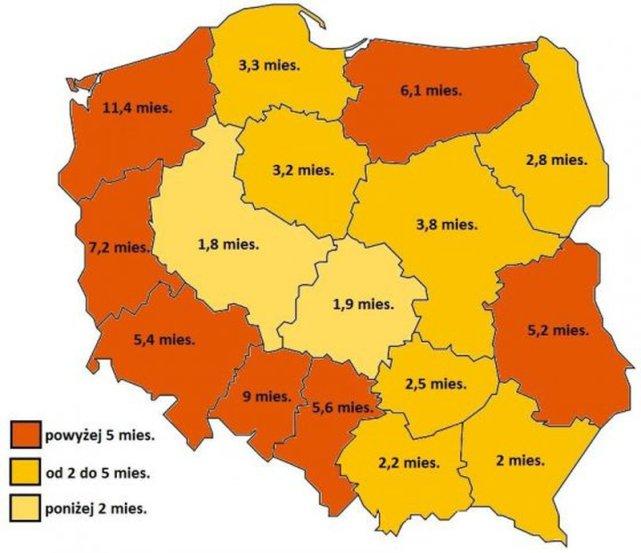 Czas oczekiwania na wizytę u lekarza chorób zakaźnych w poszczególnych województwach.