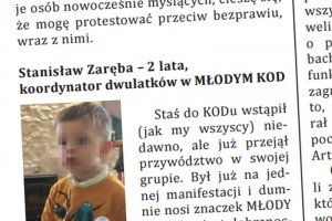 """Biuletyn Komitetu Obrony Demokracji """"DEKODER"""" instrumentalnie wykorzystuje 2-letnie dziecko, które przedstawiane jest jako koordynator w MŁODYM KOD."""