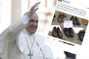 Tysiące par butów na Placu Republiki w Paryżu, jako forma protestu przed konferencją klimatyczną. Także papież Franciszek zostawił tam swoje obuwie.