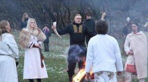 Słowianowiercy z Zachodniosłowiańskiego Związku Wyznaniowego podczas Obrzędu.