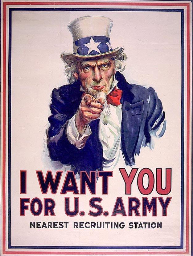 Podpis – Legendarny Uncle Sam. Amerykański plakat z czasów II Wojny, namawia do wstąpienia do armii.