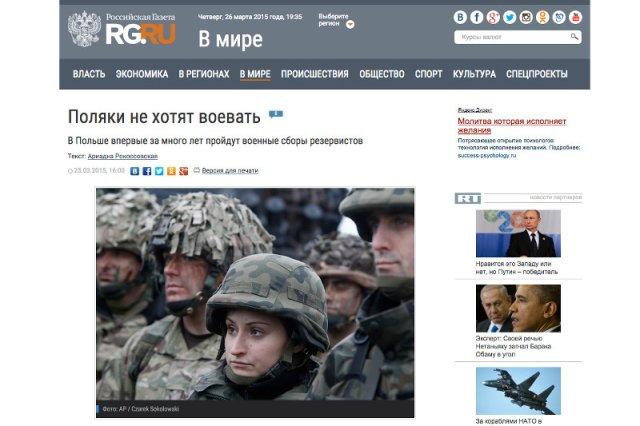 """Rosyjscy dziennikarze piszą o polskim strachu. """"Polacy nie chcą walczyć"""""""