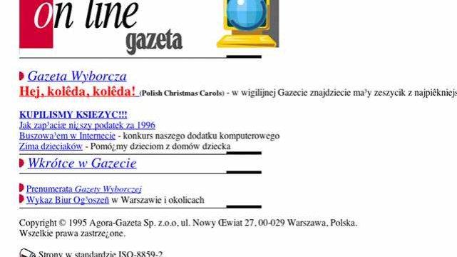 Gazeta.pl w 1995 roku. Wtedy była stroną dziennika, nie tak jak teraz oddzielnym bytem