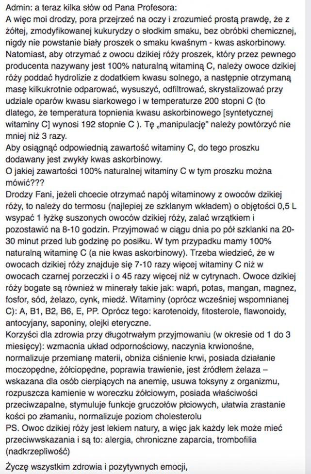 Michał Tombak o naturalnej witaminie C.
