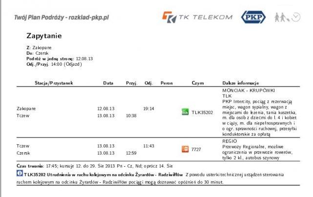 Oferta PKP dla podróżujących między Zakopanem a Czerskiem