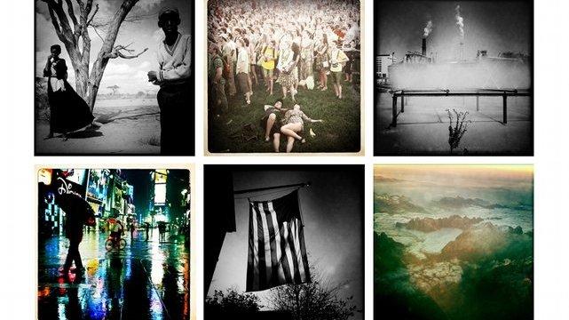 """Zdjęcia prezentowane na wystawie """"iSee"""": w pierwszym rzędzie od lewej autorstwa Lynsey Addario, Davida Monteleone, Eda Kashiego, w drugim rzędzie: Erin Trieb, Gary'ego Knighta i Donalda Webera"""