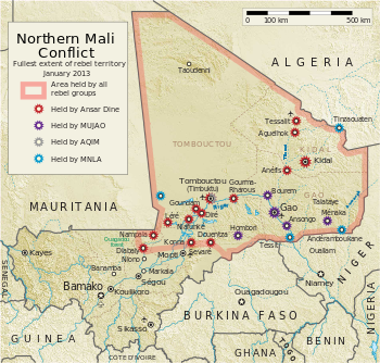Mapa konfkliktu w Mali