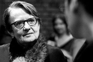 """Agnieszka Holland podczas premiery swojego filmu """"W ciemności""""."""