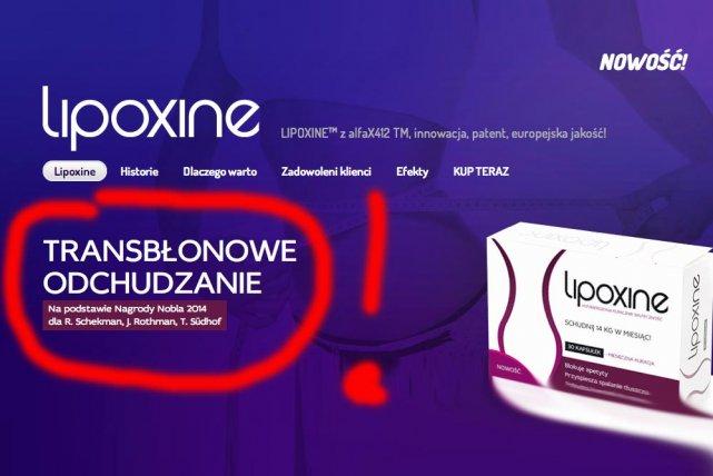 Producent Lipoxine chwali się, że preparat powstał dzięki Nagrodzie Nobla!