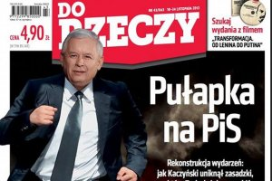"""Na okładce """"Do Rzeczy"""" odchudzony Jarosław Kaczyński ucieka z zasadzki zastawionej przez Donalda Tuska"""