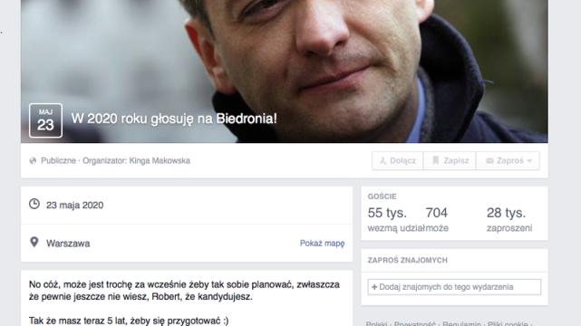 Czy Robert Biedroń wystartuje w wyborach prezydenckich 2020? Przynajmniej 55 tysięcy ludzi tego by sobie właśnie życzyło.