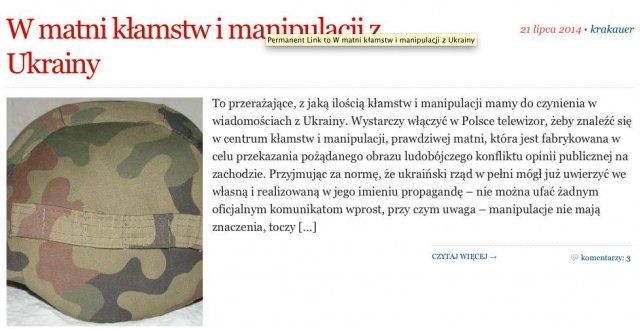 W taki sposób obserwatorpolityczny.pl przedstawia wydarzenia na Ukrainie