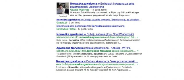 Tytuły polskich mediów informujących o sprawie Norweżki